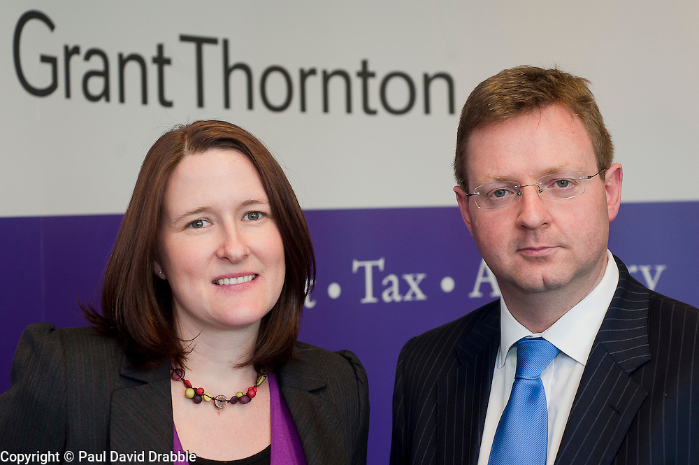 Grant Thornton Promotion..Grant Thorntons new Associate Director Donna Steel with Grant Thornton Partner Paul Houghton.http://www.pauldaviddrabble.co.uk.4 April 2012 .Image © Paul David Drabble