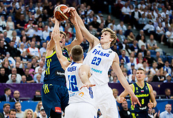 Luka Doncic of Slovenia vs Lauri Markkanen of Finland during basketball match between National Teams of Finland and Slovenia at Day 3 of the FIBA EuroBasket 2017 at Hartwall Arena in Helsinki, Finland on September 2, 2017. Photo by Vid Ponikvar / Sportida