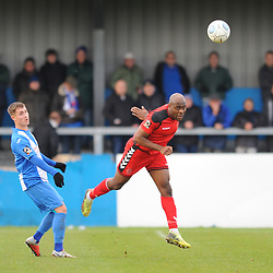 TELFORD COPYRIGHT MIKE SHERIDAN 1/1/2019 - Theo Streete of AFC Telford heads clear during the Vanarama Conference North fixture between AFC Telford United and Nuneaton Borough FC.