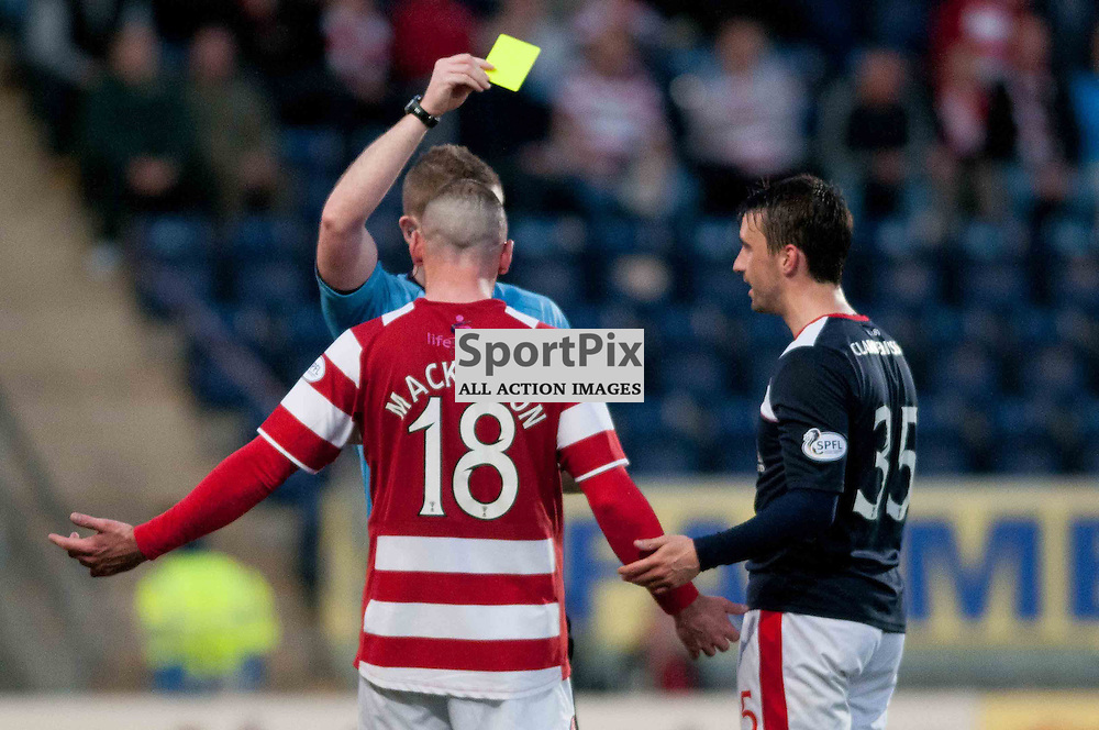 Falkirk hosted Hamilton Academicals in the first leg of the SPFL play off semi final at Falkirk Community Stadium. Hamilton scorer, Darian MacKinnon and Mark Millar of Falkirk, both get booked during a hard fought match. Tuesday, 13th May, 2014. (c) Wullie Marr | SportPix.org.uk