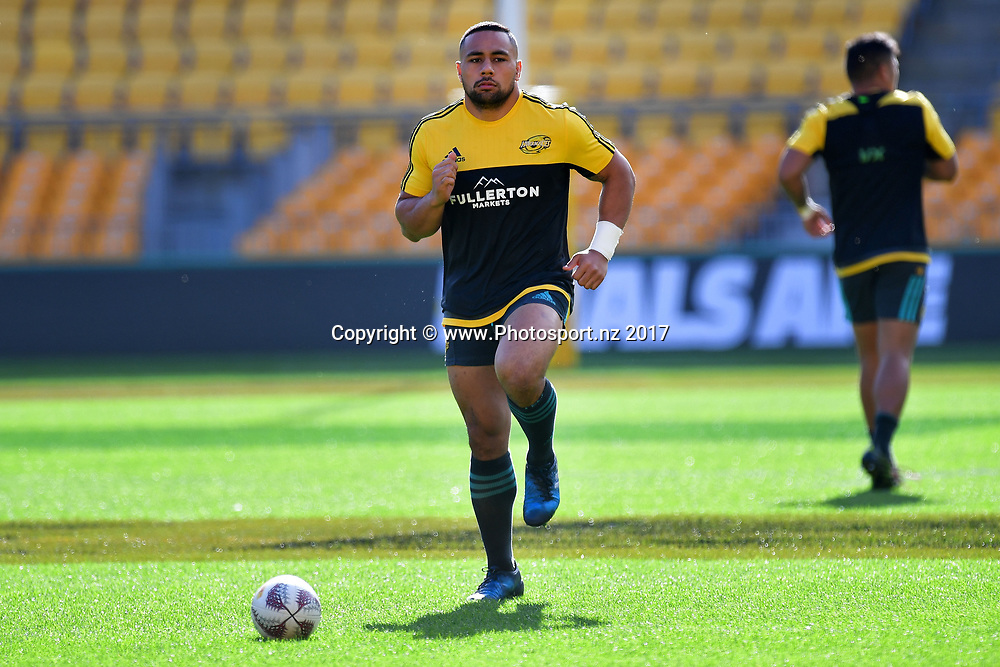 Hurricanes Ngani Laumape warms up during the Hurricanes captains run at Westpac Stadium in Wellington on Friday the 26th of June 2017. Copyright Photo by Marty Melville / www.Photosport.nz