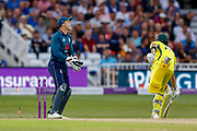 England ODI wicket keeper Jos Butler runs out  Australia ODI all rounder Marcus Stoinis  during the third Royal London One Day International match between England and Australia at Trent Bridge, West Bridgford, United Kingdom on 19 June 2018. Picture by Simon Davies.