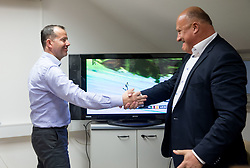 Enzo Smrekar and Iztok Klancnik celebrate  after Ilka Stuhec's overall won in Downhill during meeting of Executive Committee of Ski Association of Slovenia (SZS), on March 15, 2017 in SZS, Ljubljana, Slovenia. Photo by Vid Ponikvar / Sportida