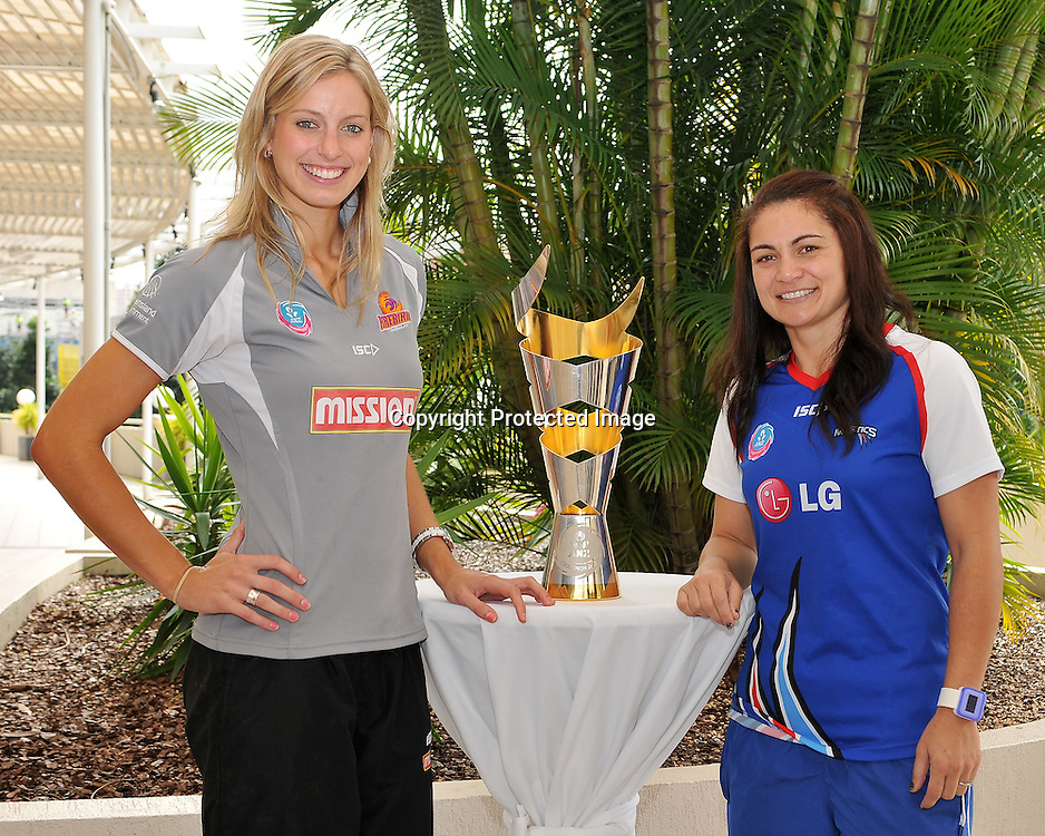 Laura Geitz and Temepara George pose with the ANZ Championship Trophy on the eve of the Grand Final - Queensland Firebirds v Northern Mystics - to be played at the Brisbane Convention Centre on Sunday 22nd May 2011 ~ Photo : Steven Hight (AURA Images) / Photosport