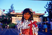 Japanese girl in kimono, oban dance