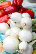 Salad onions on sale in food market in Santander, Cantabria, Northern Spain