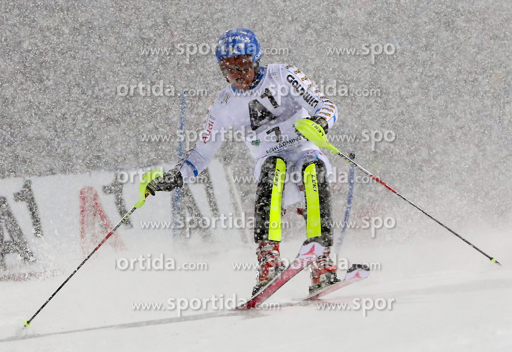 27.01.2015, Planai, Schladming, AUT, FIS Weltcup Ski Alpin, Nightrace, Slalom, Herren, 1. Durchgang, im Bild Mattias Hargin (SWE) // Mattias Hargin of Sweden in action during 1st run of mens slalom of the Schladming FIS Ski Alpine World Cup at the Planai course in Schladming, Austria on 2015/01/27. EXPA Pictures © 2015, PhotoCredit: EXPA/ Martin Huber