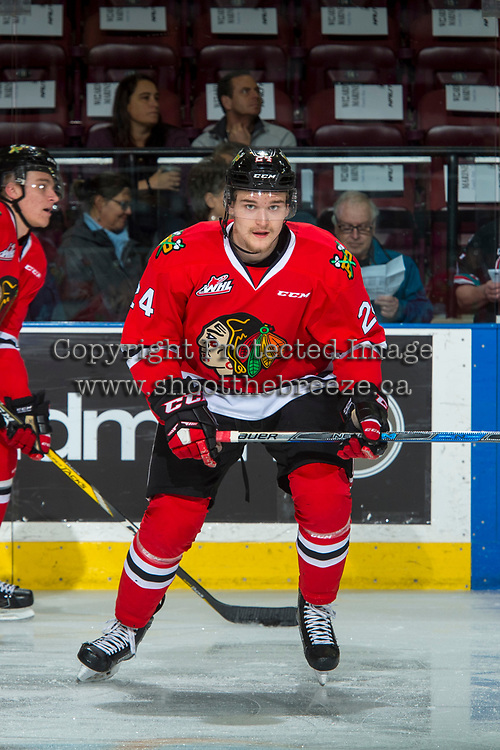 KELOWNA, CANADA - APRIL 7: Brett Clayton #24 of the Portland Winterhawks warms up against the Kelowna Rockets on April 7, 2017 at Prospera Place in Kelowna, British Columbia, Canada.  (Photo by Marissa Baecker/Shoot the Breeze)  *** Local Caption ***