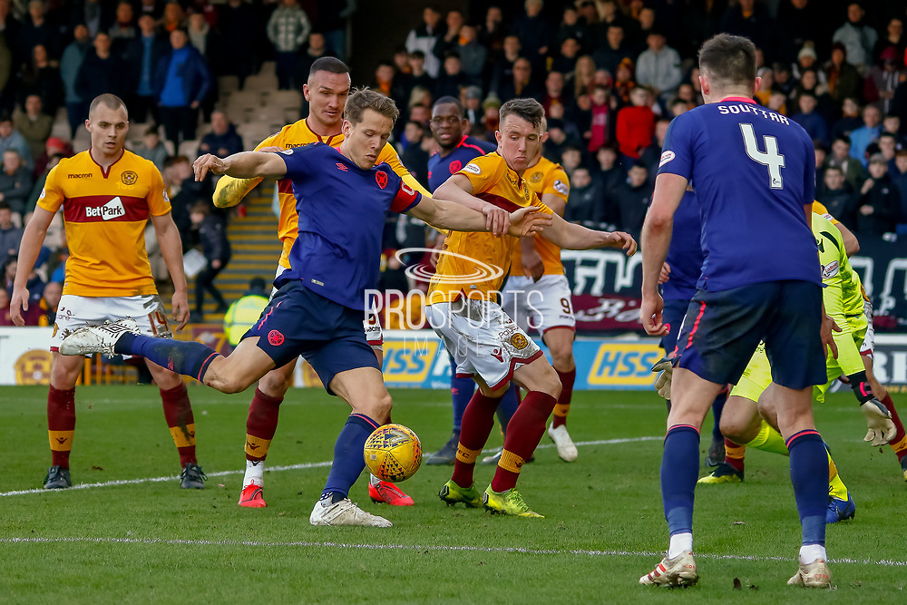 Christophe Berra of Hearts with a great chance in front of goal during the Ladbrokes Scottish Premiership match between Motherwell and Heart of Midlothian at Fir Park, Motherwell, Scotland on 17 February 2019.