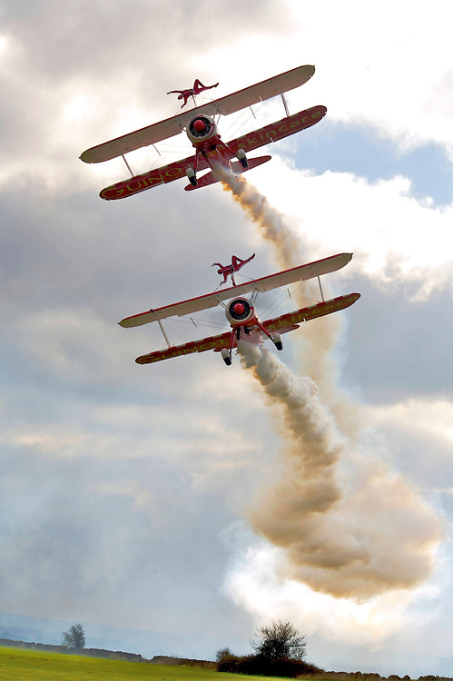 Wing Walkers fly and perform over Gloucestershire, UK