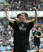 Photo: Paul Greenwood/Richard Lane Photography. <br />Burnley v Cardiff City. Coca-Cola Championship. 26/04/2008. <br />Cardiff's Aaron Ramsey celebrates with the fans