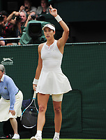 Tennis - 2017 Wimbledon Championships - Week Two, Saturday [Day Twelve]<br /> <br /> Ladies Singles,  Final match<br /> <br /> Garbine Muguruza (ESP) vs. Venus Williams  (USA)<br /> <br /> Garbine Muguruza asks the Umpire for Hawkeye on match point which gave her the match on  Centre court <br /> <br /> COLORSPORT/ANDREW COWIE