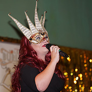 Presenter Cherry Bomb of the London Burlesque Festival - The Crown Jewels at Conway Hall on 19th May 2017, UK. by See Li