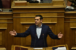 June 16, 2018 - Athens, Attiki, Greece - Greek Prime Minister Alexis Tsipras, during his speech in Hellenic Parliament (Credit Image: © Dimitrios Karvountzis/Pacific Press via ZUMA Wire)