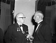 22/10/1957<br /> 10/22/1957<br /> 22 October 1957<br /> Dublin Chamber of Commerce Dinner at the Gresham Hotel, Dublin.<br /> Left is T.F. Laurie, President of Associated Chambers of Commerce of Ireland.