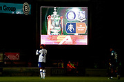 The FA Cup on the big screen during the The FA Cup match between Wycombe Wanderers and Tranmere Rovers at Adams Park, High Wycombe, England on 20 November 2019.