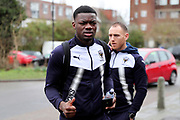 AFC Wimbledon defender Deji Oshilaja (4) and AFC Wimbledon defender Barry Fuller (2) arriving during the EFL Sky Bet League 1 match between AFC Wimbledon and Northampton Town at the Cherry Red Records Stadium, Kingston, England on 10 February 2018. Picture by Matthew Redman.