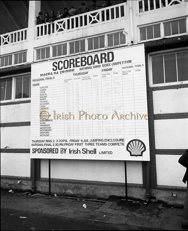 National Farm Tasks Competition Final  (K25).1976..07.05.1976..05.07.1976..7th May 1976..The final of the National Farm Tasks Competition were held in the R.D.S.(Royal Dublin Showgrounds, Dublin) The competition was sponsored by Irish Shell Ltd. Over 400 teams originally took part in the competition. The overall winners were the Tullyallen,Co Louth branch of Macra na Ferime..Image of the scoreboard showing the counties taking part and also the skills involved over the two days of competition.