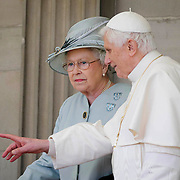 The Queen and Pope Benedict XVI at Holyrood Palace during the 2010 Papal Visit<br /> <br /> <br /> &copy; John Linton<br /> All rights reserved