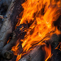 Campfire flames.