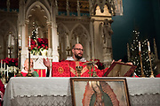 Images from the Celebration of the Feast of the Holy Innocents in New York City. Mass celebrated at the Old St. Patrick's in SOHO, followed by Benediction and a procession with an image of Our Lady of Guadalupe to the Planned Parenthood facility at Bleeker Street in the East Village.