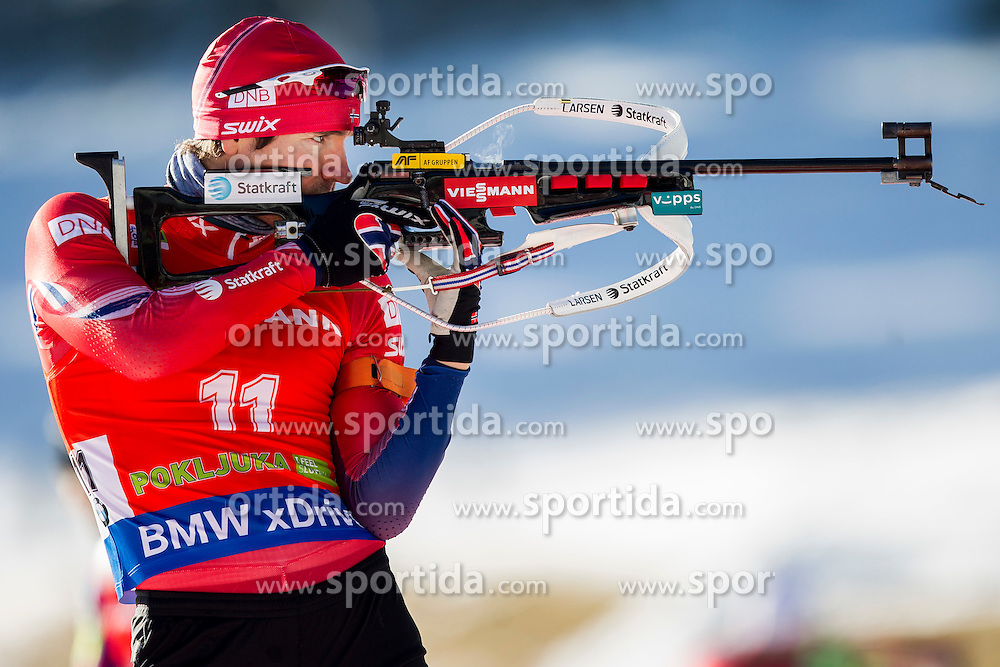 Emil Hegle Svendsen (NOR) competes during Men 12,5 km Pursuit at day 3 of IBU Biathlon World Cup 2015/16 Pokljuka, on December 19, 2015 in Rudno polje, Pokljuka, Slovenia. Photo by Urban Urbanc / Sportida
