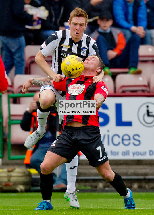 Dunfermline Athletic v Airdrieonians SPFL League One Season 2015/16 East End Park 26 September 2015<br /> Lewis Martin challenges Liam Watt <br /> CRAIG BROWN | sportPix.org.uk