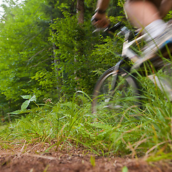 A man mountain biking on the Catamount Trail in Wolcott, Vermont.