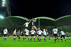 Rebels win the lineout.Melbourne Rebels v The Sharks.Rugby Union - 2011 Super Rugby.AAMI Park, Melbourne VIC Australia.Friday, 11 March 2011.© Sport the library / Jeff Crow
