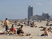 overview of sunbathers lying on beach Miami USA