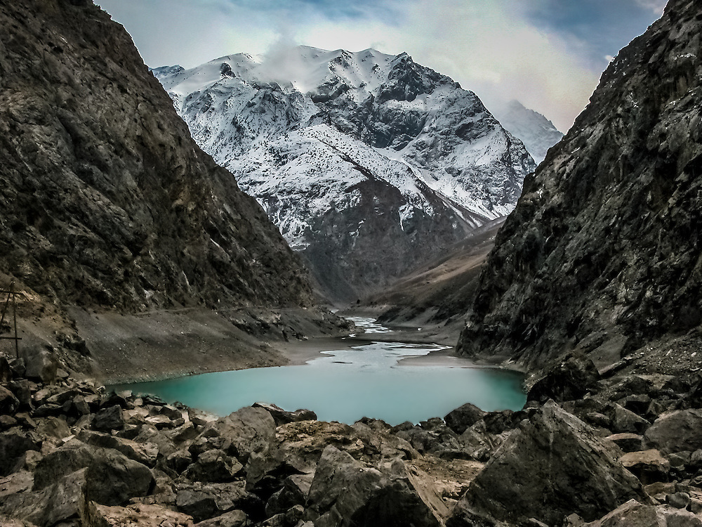 Stock landscape photograph of the Fourth Lake, one of the Seven Lakes in the Shing Valley of Tajikistan