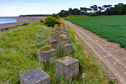 Aerial view of Second World War era anti-tank blocks at Hedderwick in Dunbar in East Lothian, Scotland, UK
