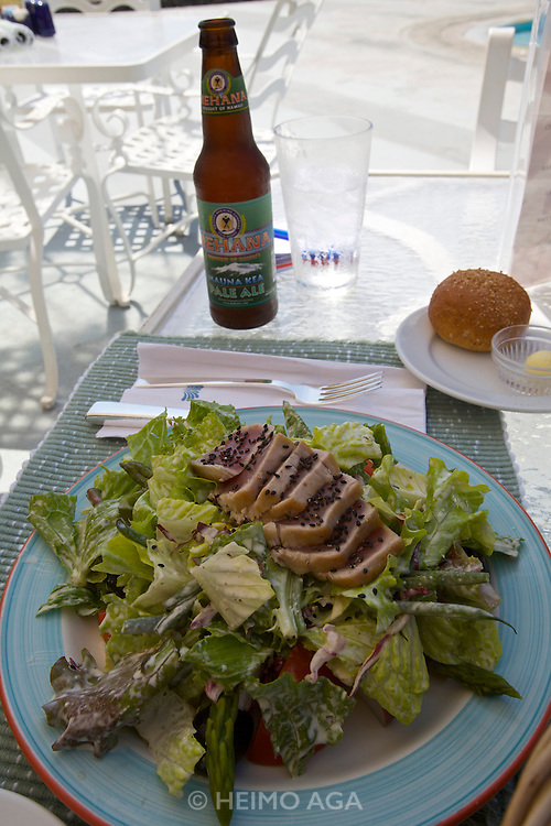 Hapuna Beach Prince Hotel. Salad with seared Ahi and a cold Kona Big Wave Golden Ale.