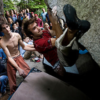 Competition athletes during the Bouldering Competition at the Petzl Squamish RocTrip in Squamish, British Columbia, Canada on June 26, 2005.