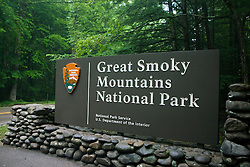 National Park Service welcome sign to Great Smoky Mountains National Park, Tennessee, July 8, 2008
