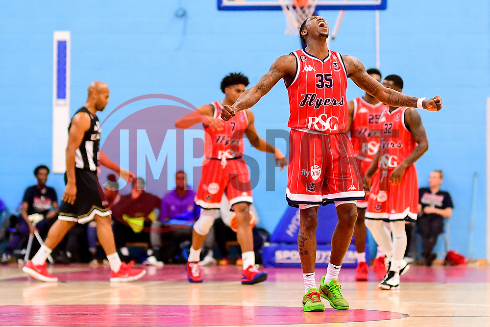 Fred Thomas of Bristol Flyers celebrates at the halftime whistle - Photo mandatory by-line: Ryan Hiscott/JMP - 03/11/2018 - BASKETBALL - SGS Wise Arena - Bristol, England - Bristol Flyers v Newcastle Eagles - British Basketball League Championship