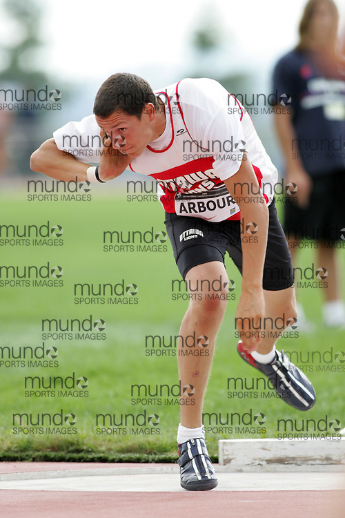 (Sherbrooke, Canada---23 July 2006) Patrick Arbour in the shot put final at  the 2006 Canadian Junior Track and Field Championships and national multi-events championships 21-23 July 2006 held in Sherbrooke Quebec. Copyright 2006 Sean Burges / Mundo Sport Images, www.mundosportimages.com