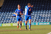 Grant Holt celebration 1-1 during the Sky Bet League 1 match between Rochdale and Southend United at Spotland, Rochdale, England on 25 March 2016. Photo by Daniel Youngs.