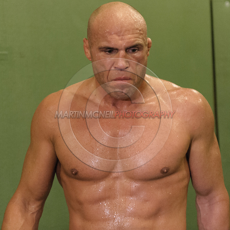 Randy Couture relaxes during a one minute interval between drills at a training session ahead of UFC 105 at Straight Blast Gym in Manchester, England on November 11, 2009.