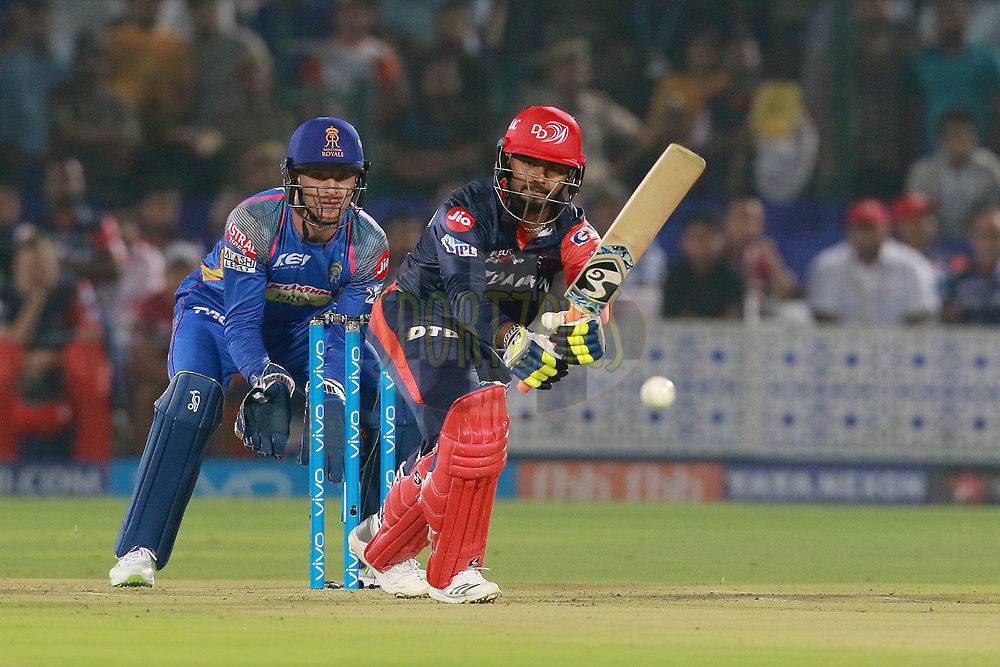 Rishabh Pant of DD plays a shot during match six of the Vivo Indian Premier League 2018 (IPL 2018) between the Rajasthan Royals and the Delhi Daredevils held at the The Sawai Mansingh Stadium in Jaipur on the 11th April 2018.<br /> <br /> Photo by: Rahul Gulati  SPORTZPICS
