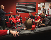 Husker wrestlers listen to rules from official Jeff Cook before the Husker's duel against Iowa at the Bob Devaney Sports Center in Lincoln, Neb., on Jan. 24, 2016. Iowa defeated Nebraska.