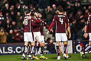 Hearts FC Defender Callum Paterson celebrates a great goal during the Ladbrokes Scottish Premiership match between Heart of Midlothian and Motherwell at Tynecastle Stadium, Gorgie, Scotland on 16 January 2016. Photo by Craig McAllister.