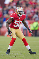 11 November 2012: Linebacker (52) Patrick Willis of the San Francisco 49ers in game action against the St. Louis Rams during overtime of a 24-24 tie between the 49ers and the Rams in an NFL football game at Candlestick Park in San Francisco, CA.