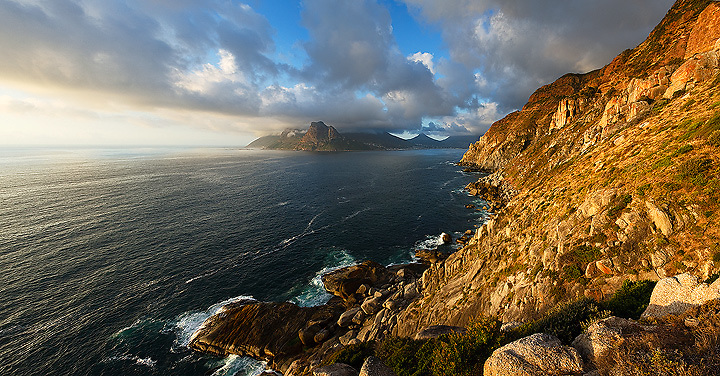 Golden Light on Coastal Mountains Chapmans Peak South Africa