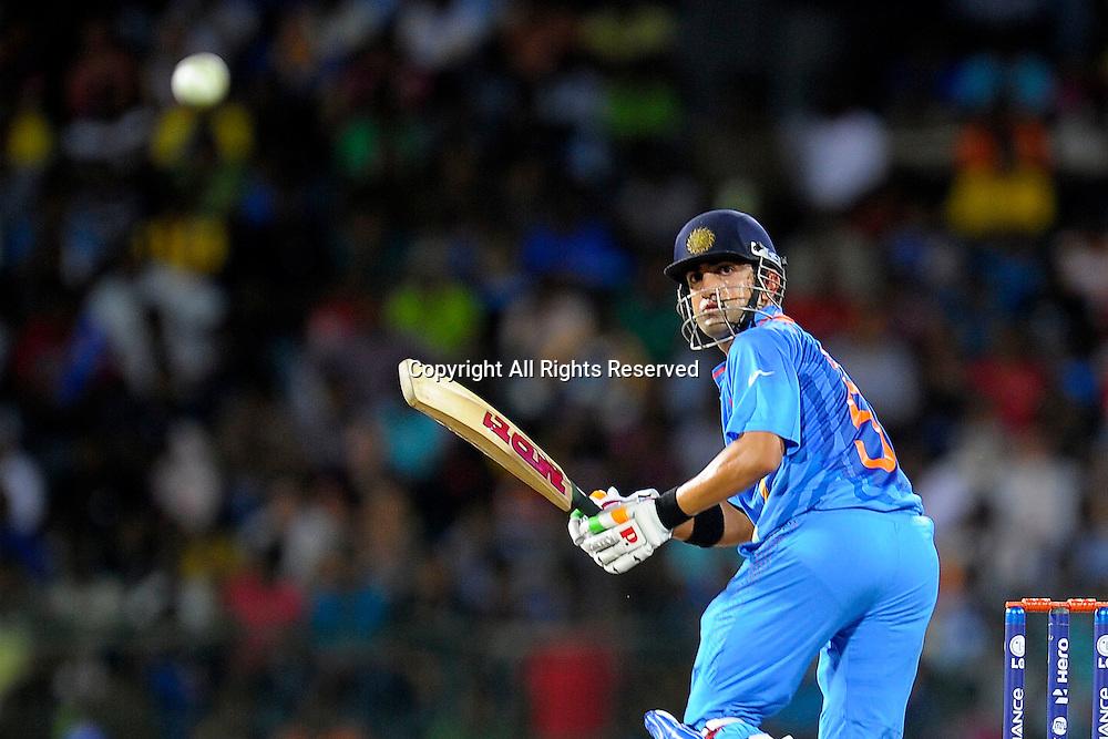 23.09.2012. Colombo, Sri Lanka. T20 World Cup England versus India held in Colombo Sri Lanka on the 23rd of September 2012 Indian batsman Gautham Gambir takes a run