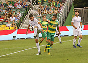 Swope Park Rangers midfielder Felipe Hernandez(85) takes control of the ball from Tampa Bay Rowdies forward Sebastian Guenzatti(13) during a USL soccer game, Sunday, May 26, 2019, in St. Petersburg, Fla. The Rowdies defeated the Rangers 1-0. (Brian Villanueva/Image of Sport)