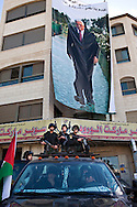 Demonstration in remembrance of the fifth anniversary of the death of Yasser Arafat..Poster of Mahmoud Abbas..