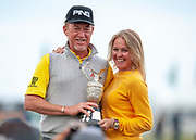 Miguel Angel Jimenez, winner of the Rolex Senior Golf Open, with his wife Susanne at St Andrews, West Sands, Scotland on 29 July 2018. Picture by Malcolm Mackenzie.