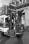 15/03/1963<br /> 03/15/1963<br /> 15 March 1963<br /> Players Tram float display. The Lord Mayor of Dublin Alderman J.J. O'Keeffe T.D. P.C., inaugurating the new Players Tram float which was to take part in the annual St. Patrick's Day N.A.I.D.A. Parade. Also in photo are: E.K. Bohane, (right) General Manager, Players and Aodhagan Brioscu, (centre) President of the N.A.I.D.A..