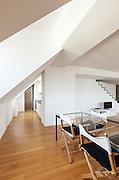 Interior, beautiful loft, hardwood floor, dining table